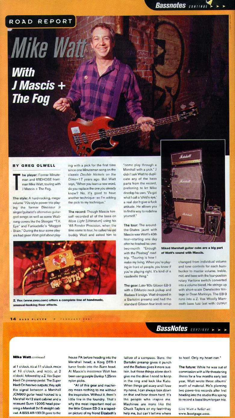 road report article from bass player magazine - feb 2001