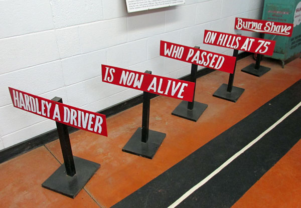 'burma shave' display at route 66 section of devil's rope museum in mclean, tx on october 31, 2014
