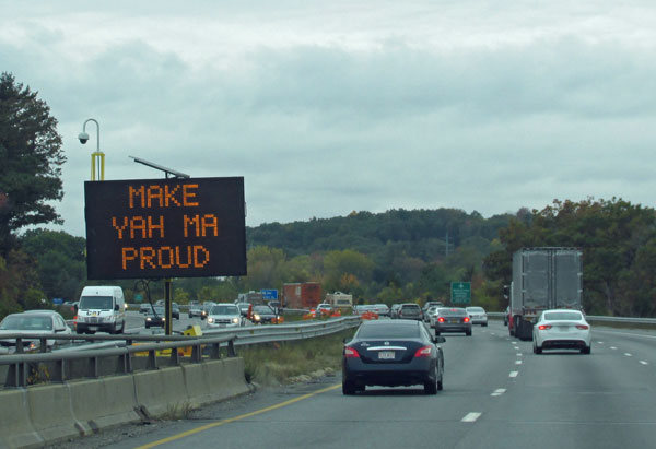 driving west on the mass pike in massachuestts on october 13, 2014