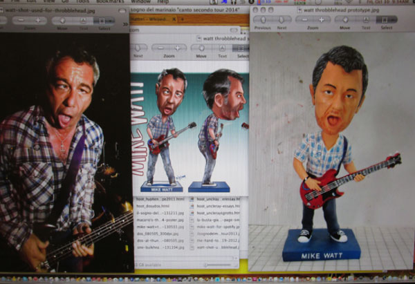 the evolution of the mike watt throbblehead doll - from photo to sketch to sculpture