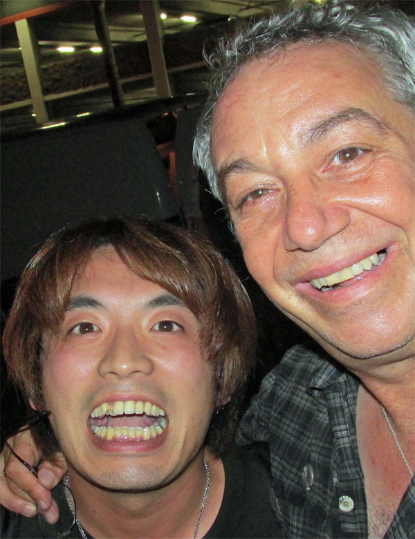 jun izawa + mike watt (l to r) near the casbah in san diego, ca on september 10, 2014