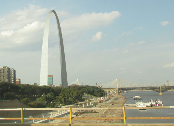 st louis waterfront from over the mississippi on october 1, 2014