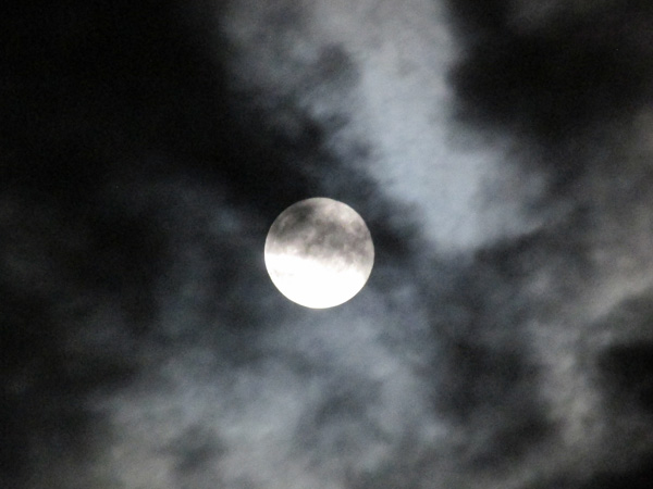 the moon over hamburg, ny on october 8, 2014