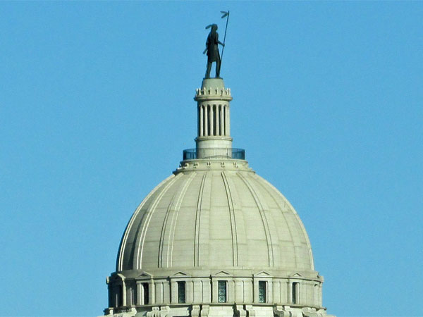 the top of the capitol building in oklahoma city, ok on october 30, 2014