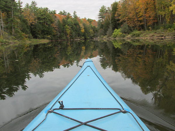 shot from the kayak mike watt paddled in on the otter river in middlebury, vt on october 11, 2014