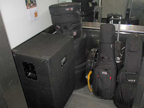all the equipment il sogno del marinaio used on this tour in a an elevator at radio x in london, england on october 7, 2016