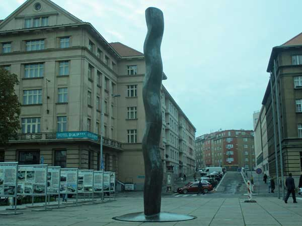 art in downtown prague, czech republic on october 24, 2016
