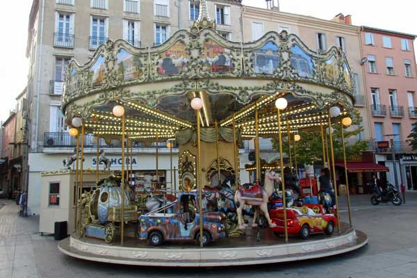 carousel in old town part of perpignan, france on october 11, 2016