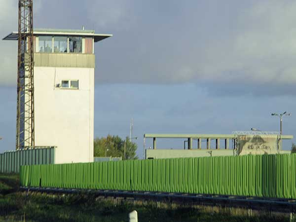 ddr guardtower at teilung near magdeburg on october 30, 2016