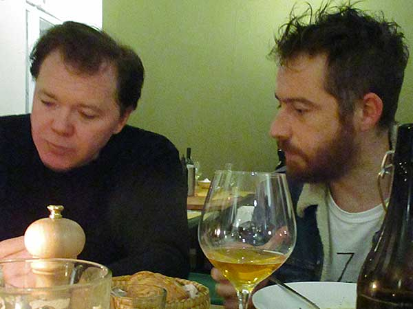 larry mullins + stefano pilia (l to r) at 'sippi osteria' in berlin, germany on september 26, 2016