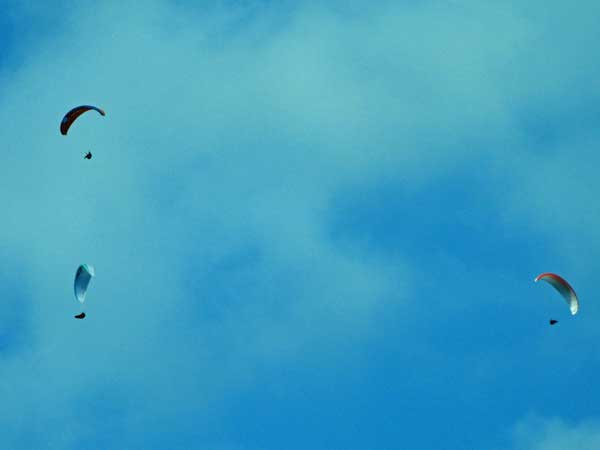 paragliders near brno, czech republic on october 23