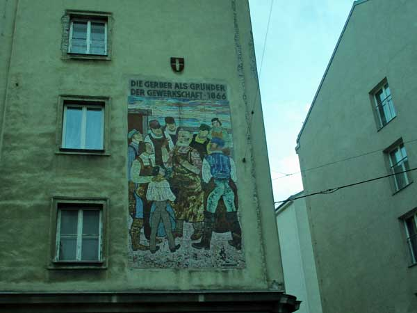 mural commemorating tanners' union beginning vienna, austria on october 21, 2016