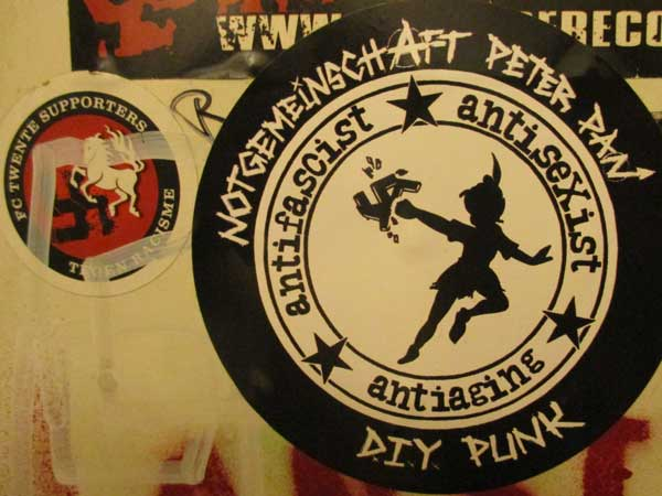 stickers in upstairs head of kapu in linz, austria on october 20, 2016