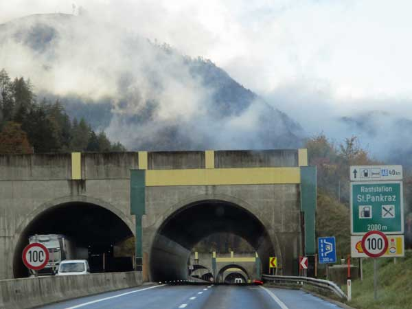tunnels and mountains on the way to linz, austria on october 20, 2016