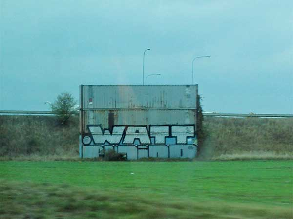 cans near brno, czech republic w/graffiti saying 'watt' on them on october 23, 2016