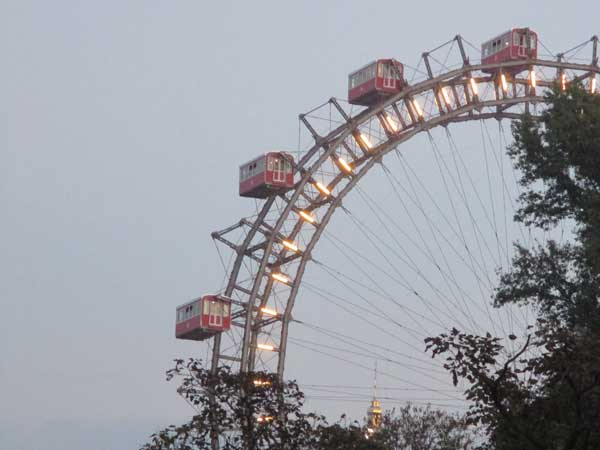 the wiener riesenrad at the prater in vienna, austria on october 21, 2016