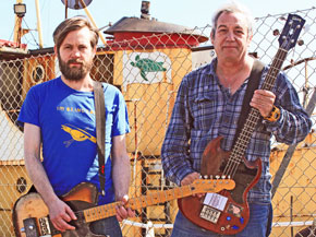 sam dook and mike watt (l to r) of cuz in brighton, england on april 9, 2014 - photo by ian parton'