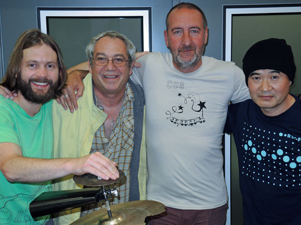 sam dook + mike watt + marc riley + eda kazuhisa (l to r) at bbc radio six in manchester, england on september 3, 2015
