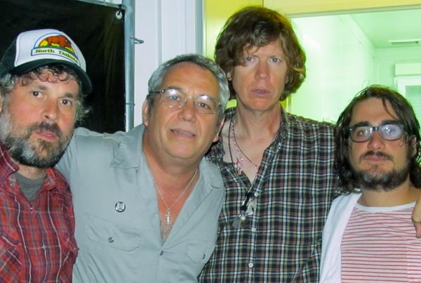 john moloney, mike watt, thurston moore and keith wood (l to r) in katowice, poland on aug 4, 2012