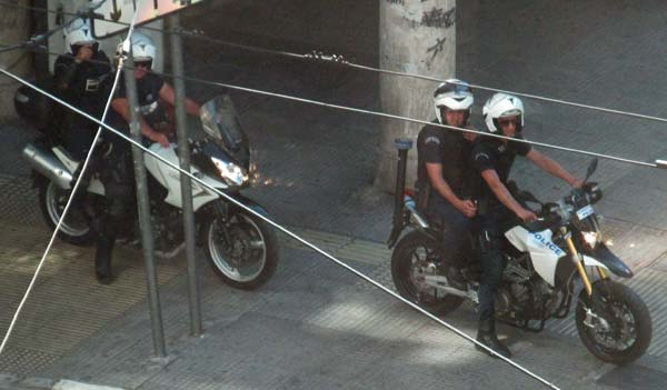 riot cops in athens, greece on july 1, 2012