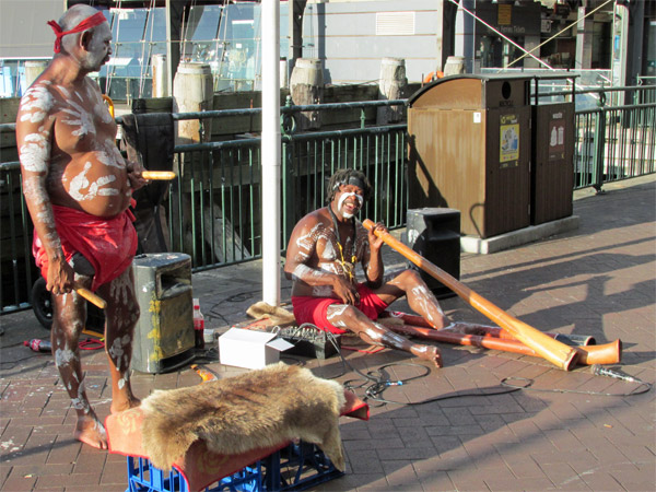 some aborigine buskers near the quay in sydney
