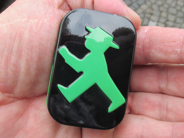 tin of mints w/ampelmannchen embossed on it in berlin, germany on august 7, 2013