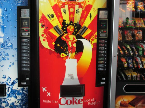 coke machine at the brussels airport on august 4, 2013