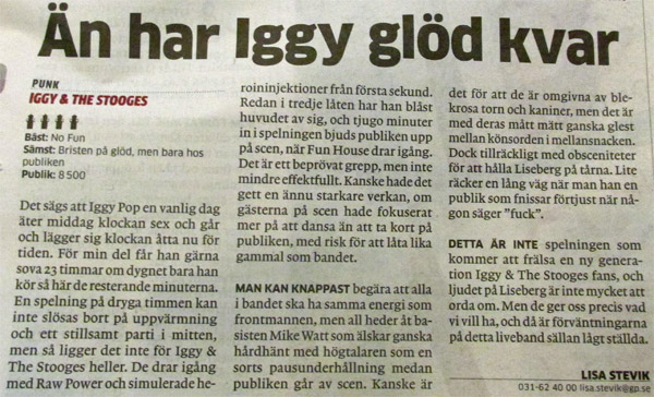review of june 26, 2013 stooges gig in goteborg, sweden in local paper