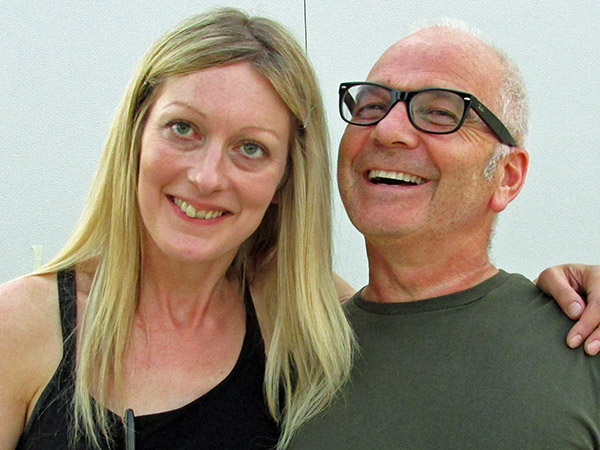 jane woolfenden + henry mcgroggan (l to r) in milan, italy on july 11, 2013