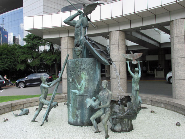 sculpture in front of intercontinental hotel in seoul, korea