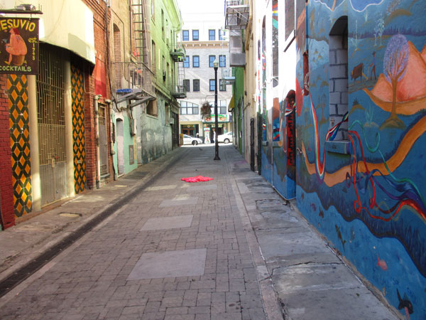 alley next to 'city lights booksellers & publishers' in san francisco, ca on november 3, 2015