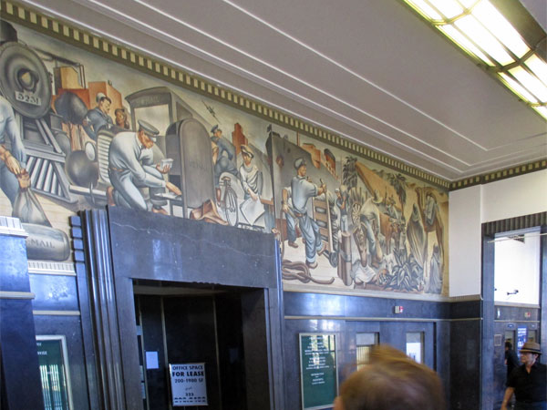 fletcher martin's mural inside san pedro's main post office on october 30, 2015