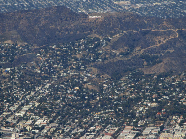 the hollywood sign from the air in so cal on october 29, 2015