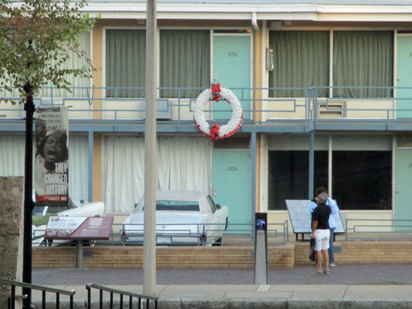 white wreath marks where dr m l king was assassinated at the lorraine motel in memphis, tn - this shot taken on october 13, 2015