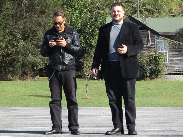 mario monterosso + francesco d'agnolo (l to r) at church parking lot somewhere in alabama on october 15, 2015