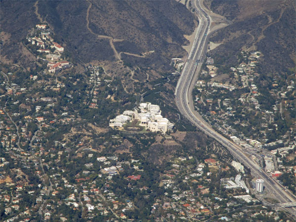 the getty center from the air in so cal on october 29, 2015