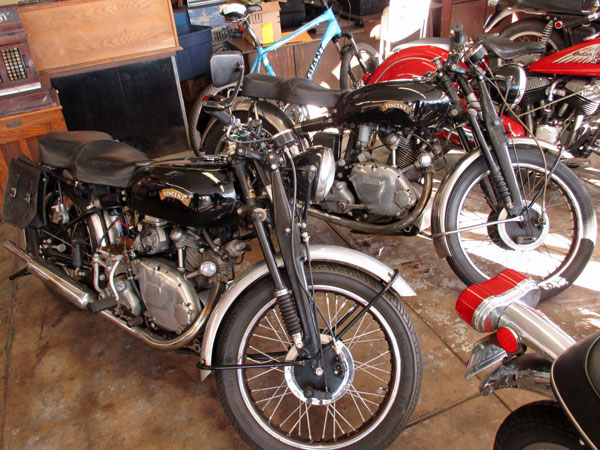 two vincents at century motorcycles in san pedro, ca on october 30, 2015