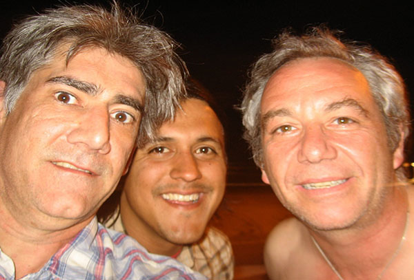 tom watson, raul morales and mike watt (l to r) on the drive home from the last gig of the